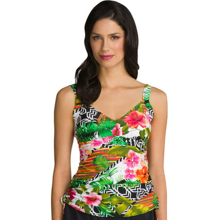 Shirred Tankini Top - Maxine Balinese Dream Side Shirred Underwire Tankini Top Size 10