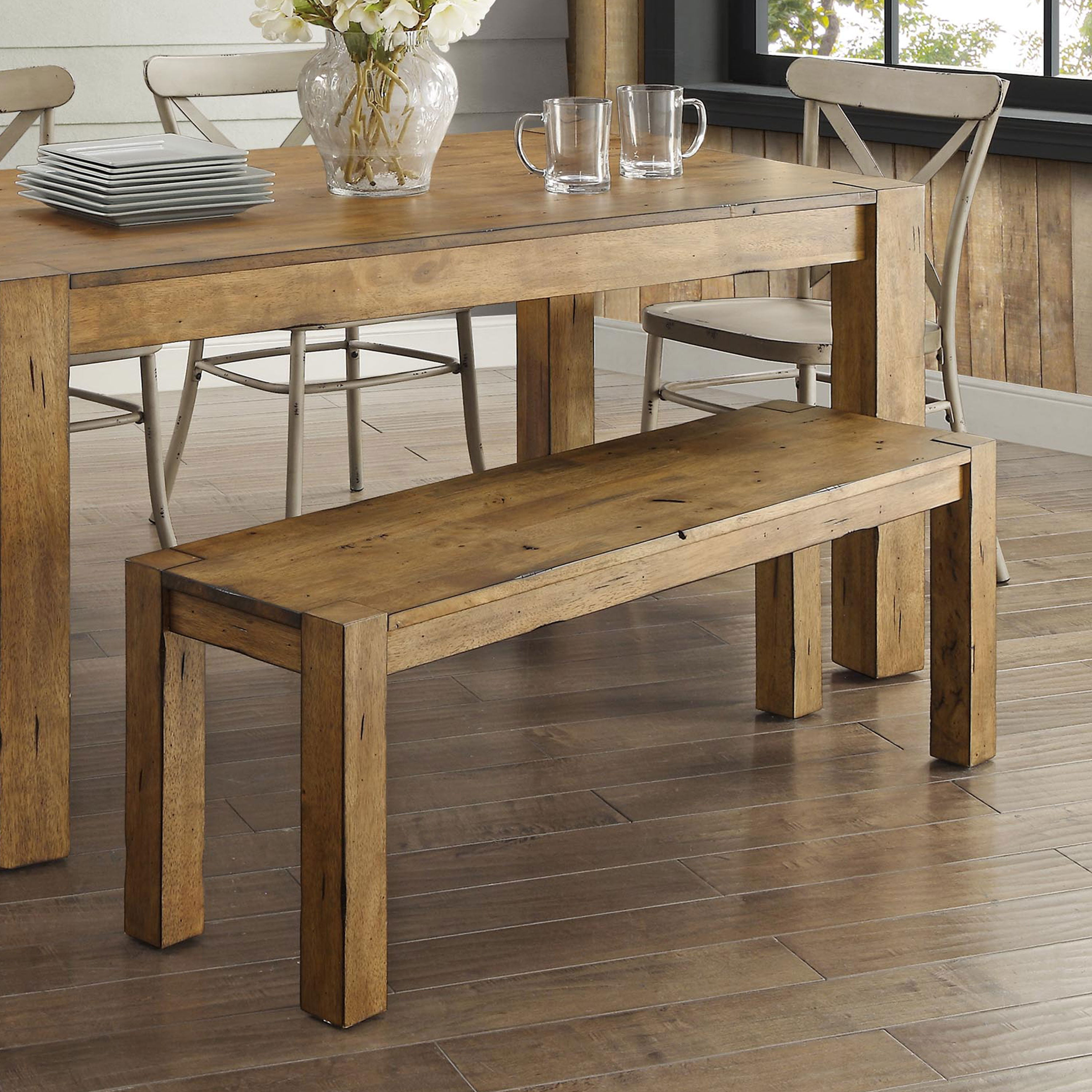 Better Homes U0026 Gardens Bryant Solid Wood Dining Bench, Rustic Brown
