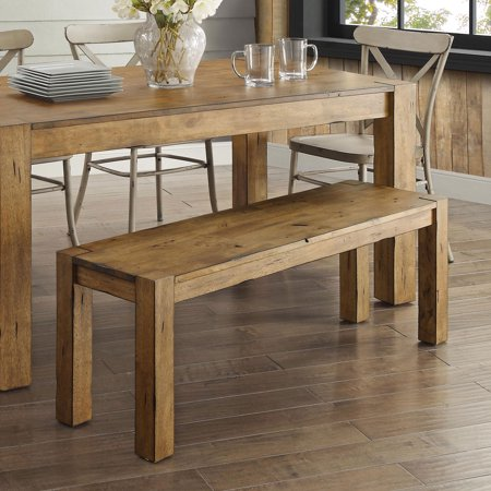 Better Homes & Gardens Bryant Solid Wood Dining Bench, Rustic Brown ()