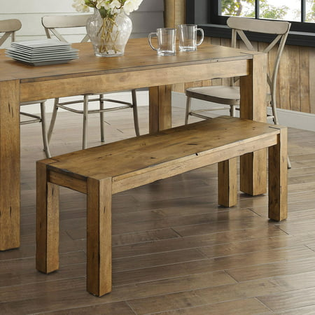 Better Homes & Gardens Bryant Solid Wood Dining Bench, Rustic Brown Dining Room Metal Bench