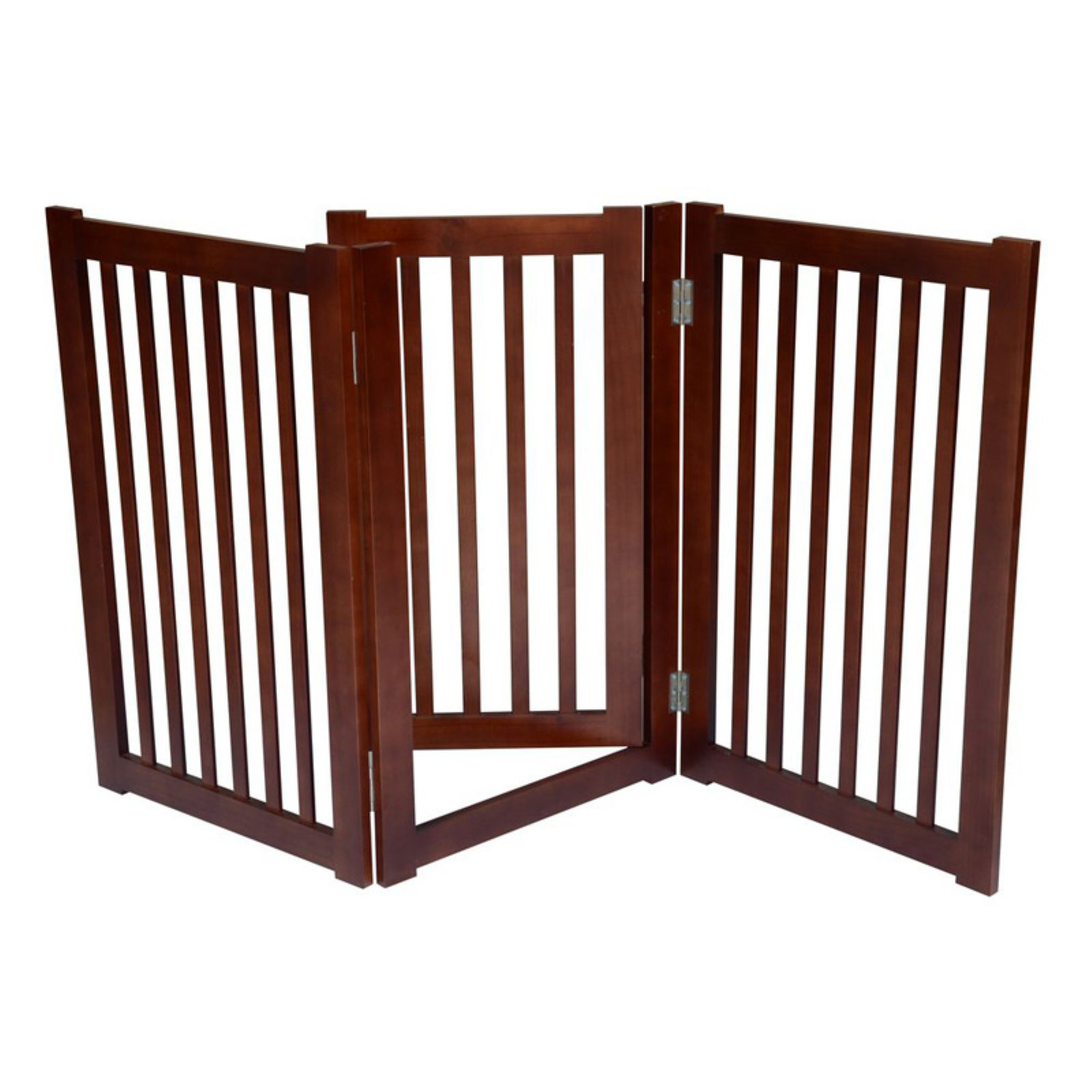 Merske Free Standing Pet Gate - Dark Walnut