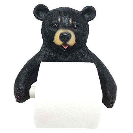 Decoration For Toilet (Darling Black Bear Toilet Paper Holder Bathroom Wall Decoration for Cozy Cabin and Hunting Lodge Decor)