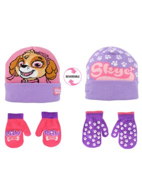 Girls Hat and Glove Set Kids Paw Patrol Reversible Hat and 2 Pair Mitten or Gloves Age 2-7