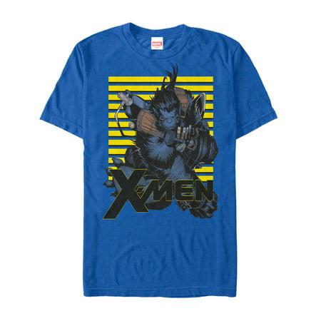 Marvel Men's X-Men Beast Stripes T-Shirt (Xmen Blue Beast)