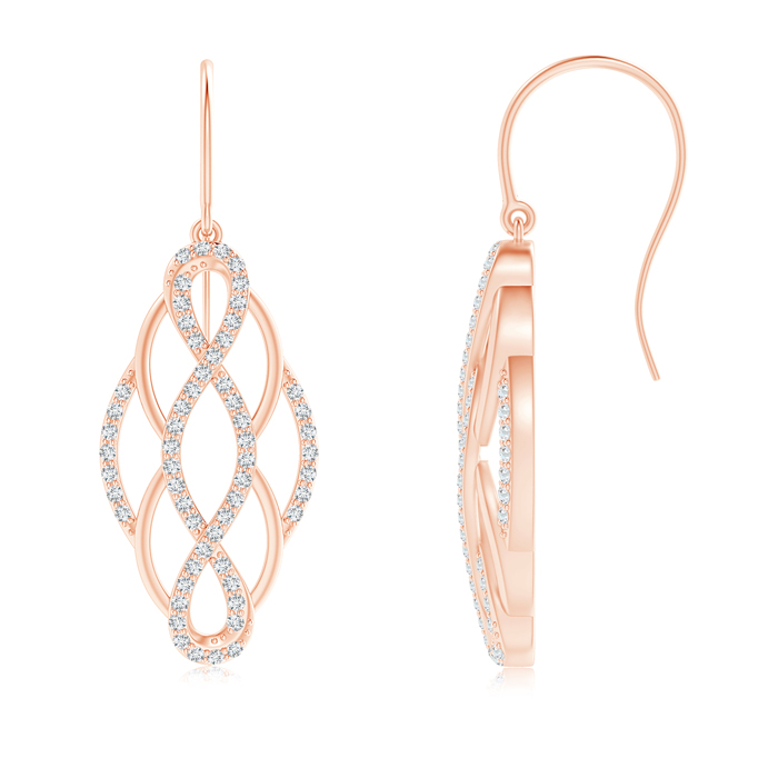 Angara Diamond Infinity Earrings in Rose Gold 4Nafh