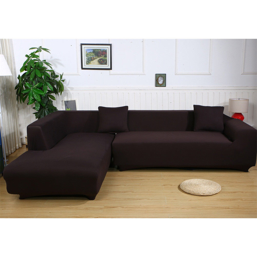 """ELEOPTION Universal Sofa Cover for L Shape, 2pcs Polyester Fabric Stretch Slipcovers 2 seater(55""""-74"""")  + 3 seater(74'-90"""")  ,with 2pcs Pillowcase as gift for  L-shape Couch (Dark Brown)"""