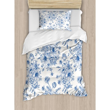 Anemone Flower Duvet Cover Set Fl Pattern With Bouquet Of Blue Flowers Delicate Victorian Design Decorative Bedding Pillow Shams