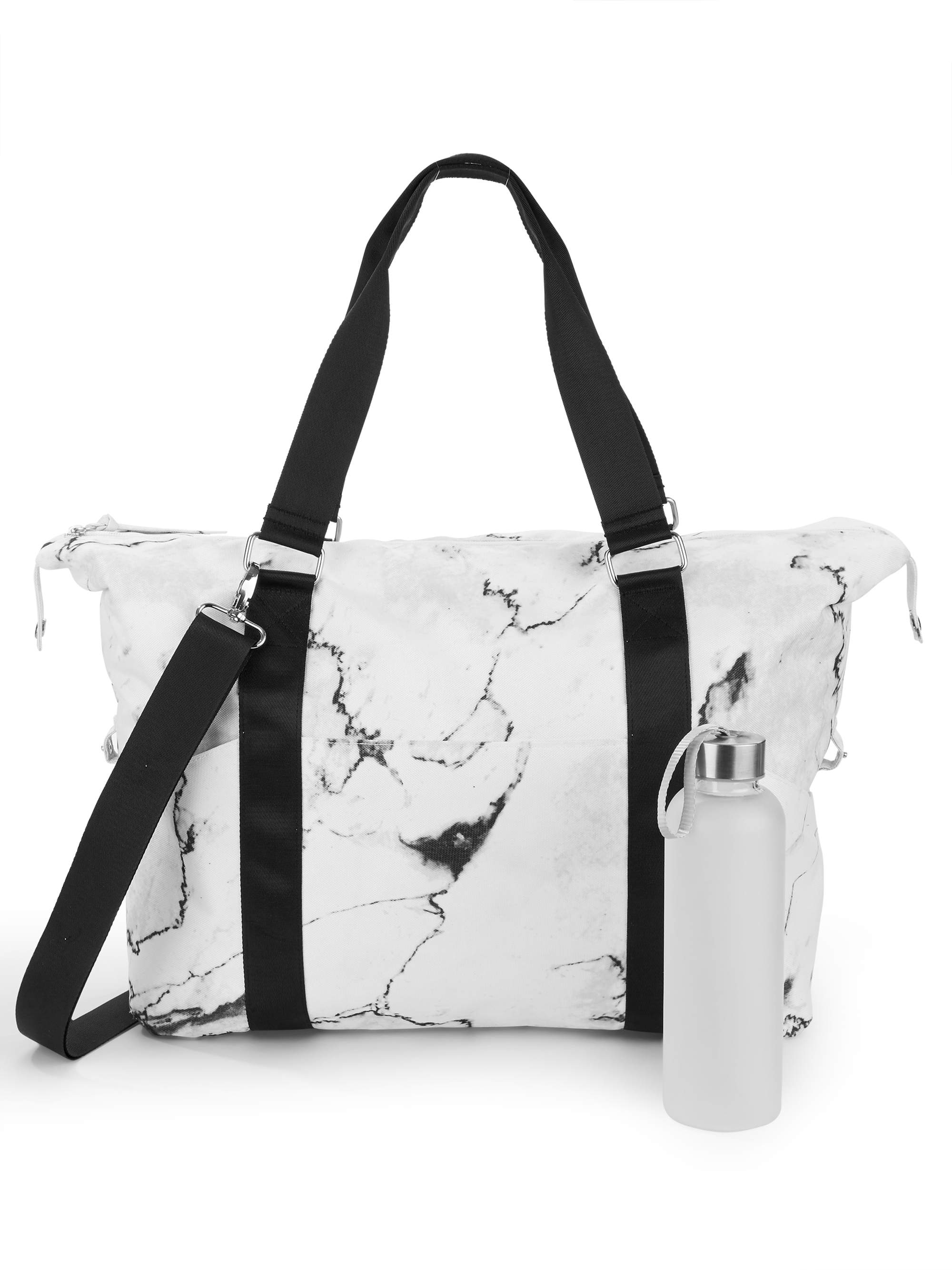 No Boundaries Marble Gym Bag with Waterbottle