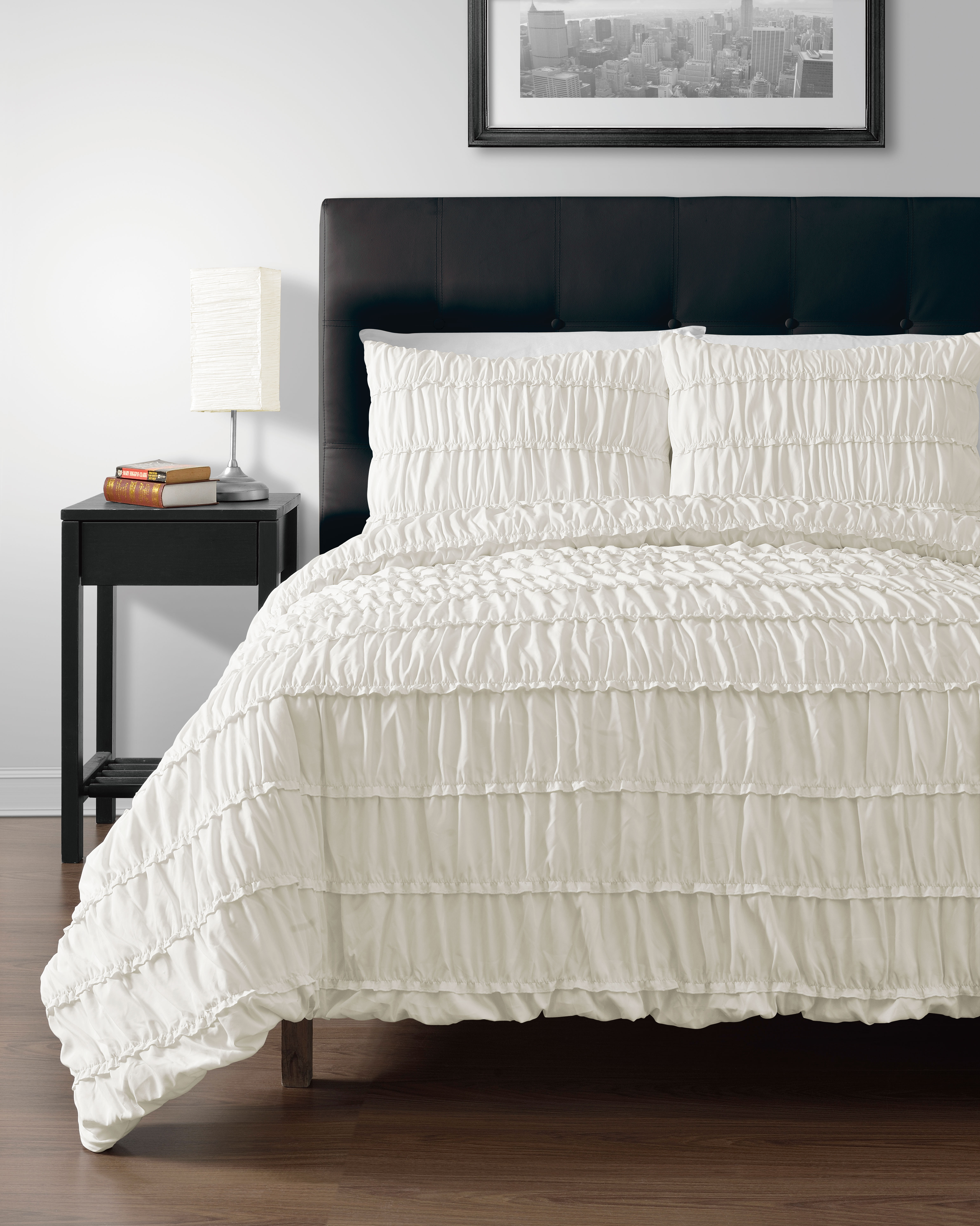 3pc Comforter Set, IVORY Color Ruched Collection By Cozy