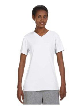 Branded Hanes Ladies Cool DRI with FreshIQ V-Neck Performance T-Shirt - WHITE - 3XL (Instant Saving 5% & more)