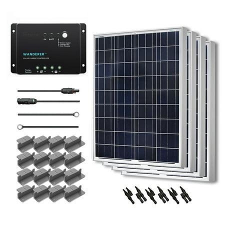 Renogy 400W 12V Solar Panel Polycrystalline Off Grid Starter Kit with Wanderer Charger Controller