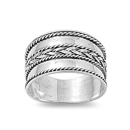 Bali Weave Braid Rope Polished Wide Ring New 925 Sterling Silver Band Size 10