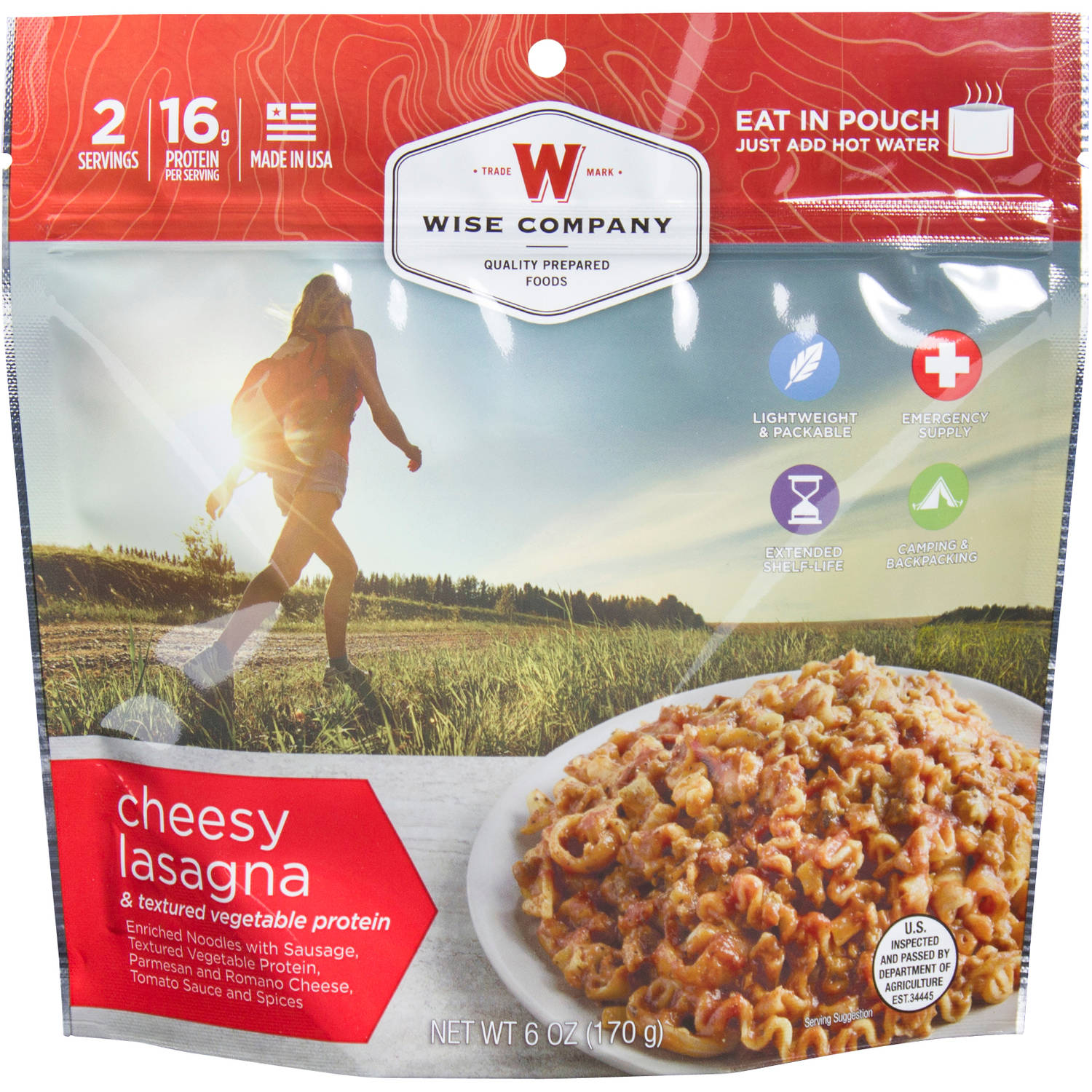 Wise Company Cheesy Lasagna & Textured Vegetable Protein Prepared Meal, 6 oz