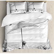 Beach Queen Size Duvet Cover Set, Doodle Style Sketch Pattern Monochrome Illustration Ocean and Boat Pencil Drawing, Decorative 3 Piece Bedding Set with 2 Pillow Shams, Black White, by Ambesonne