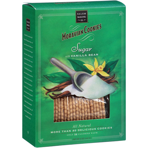 Salem Baking Co. Moravian Sugar Cookies with Vanilla Bean, 5 oz, (Pack of 6)