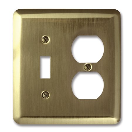 Image of Amerelle 154TD Decorative Round Corner Steel Wallplate with 1 Toggle/1 Duplex Outlet, Brushed Brass