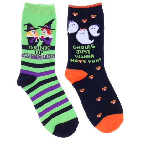 Davco Women's Halloween Crew Socks (2Pr), Ghouls Wanna Have Fun, Drink Up Witches (Cute Halloween Drink Names)