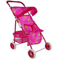 Children's Play Cute Hot Pink Strawberry Toy Baby Doll Stroller w/ Basket