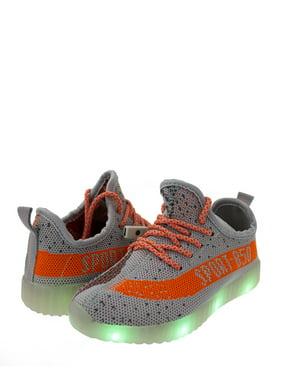 stylesilove Kid Boys Energy LED Light Up Luminous Fashion Sneakers Casual Shoes (13M US Little Kid, Grey+Orange)