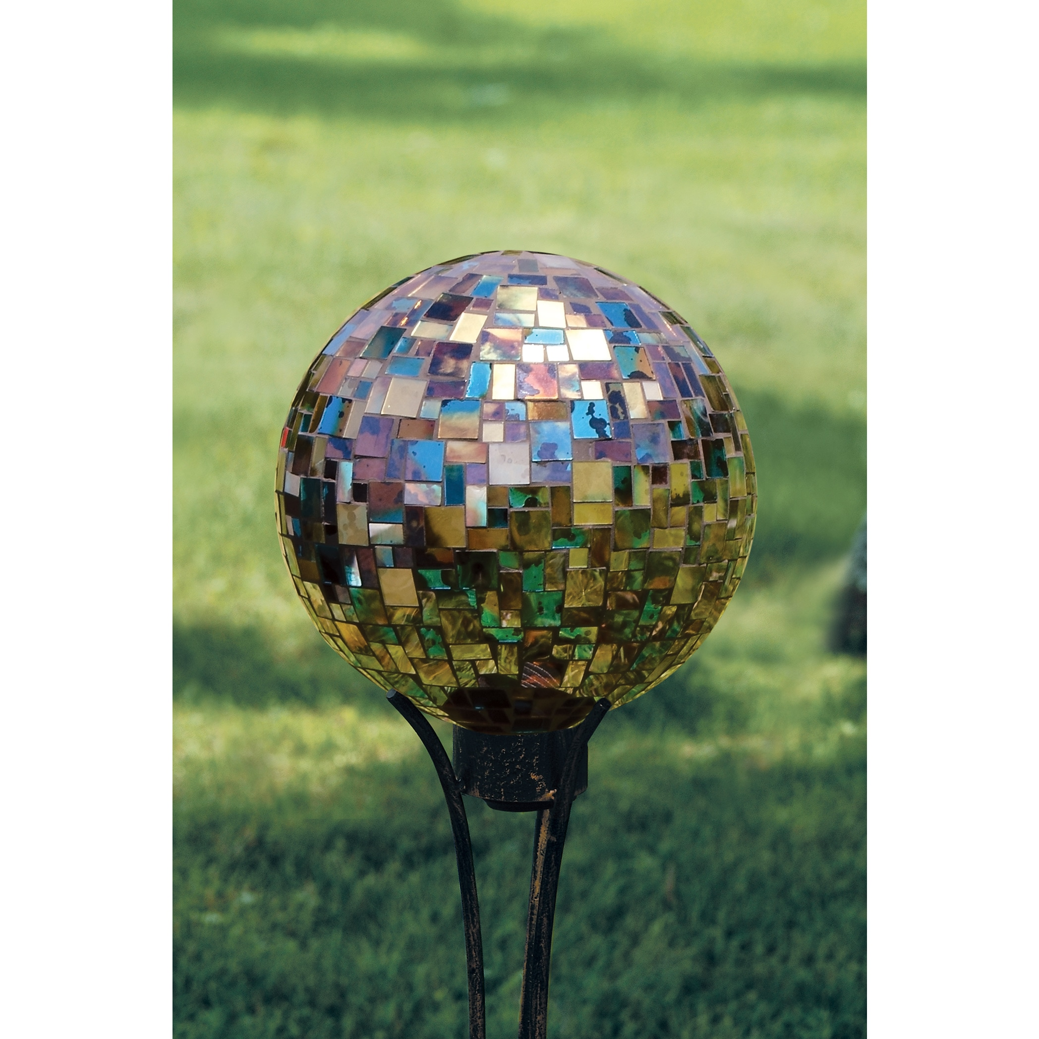 Carson Home Accents Blue Art Glass 10-inch Hand-painted Mosaic Garden Gazing Ball by Overstock