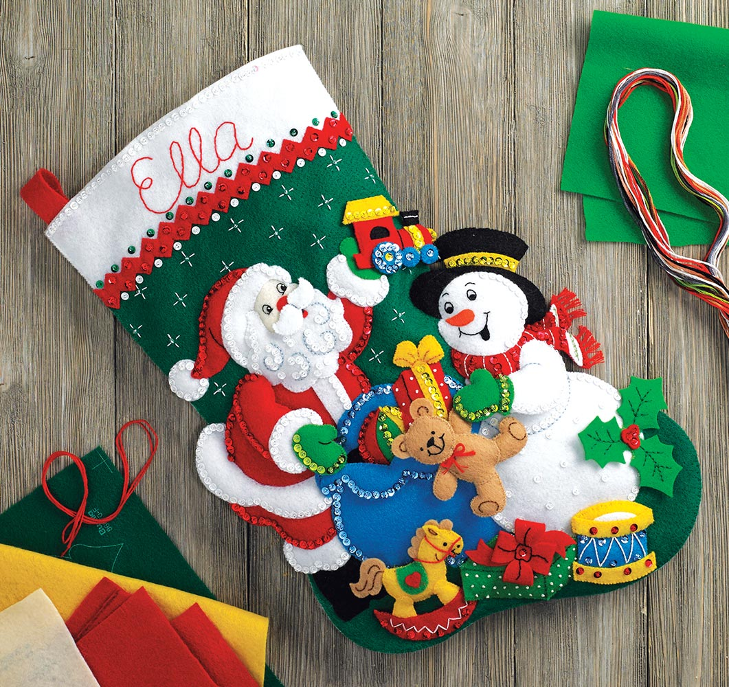 Bucilla Santa & Snowman Felt Stocking Kit