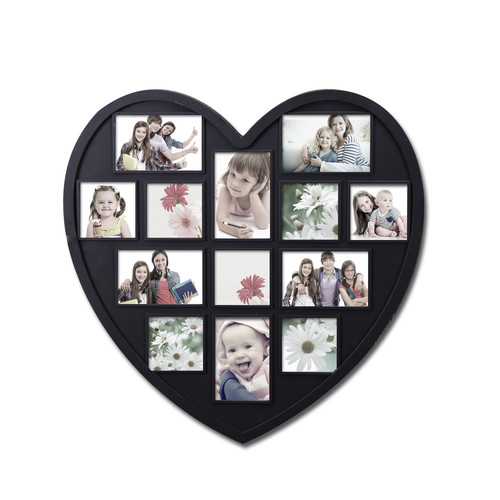 Adeco Trading 13 Opening Decorative Heart Shaped Wall Hanging Picture Frame