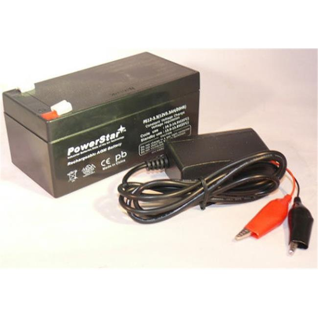 PowerStar PS12-3.3-F120005W 12V 3Ah SLA Battery Replaces BP3-12 BP3.6-12 CF12V2.6 CFM12V3 CP1232 Plus Charger
