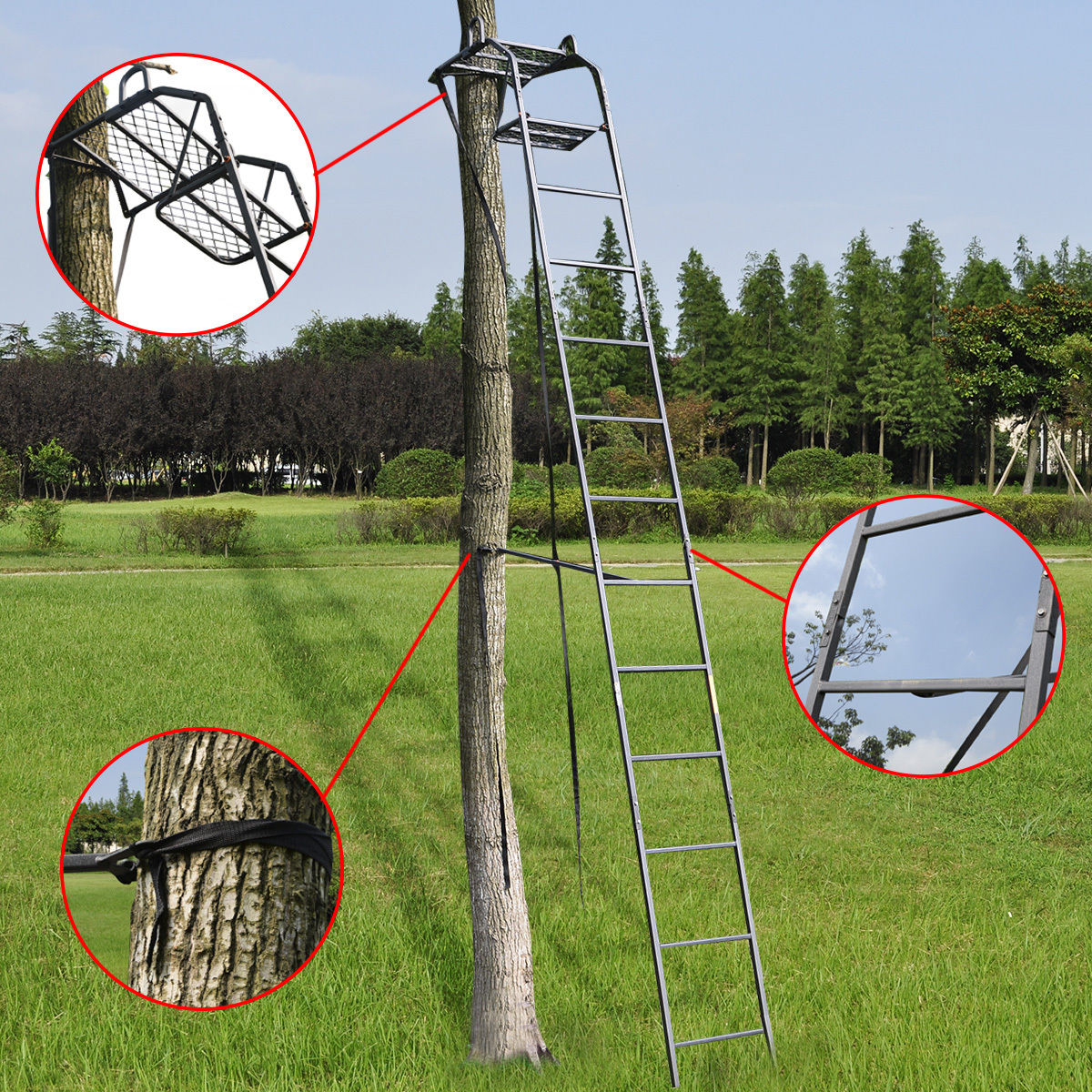 GHP 15-Feet 300-Lbs Weight Capacity Hunting Ladder Tree S...