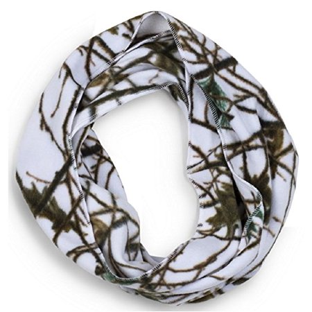 Camouflage Scarf - Women's White Fleece Camo Infinity Scarf Snow Forest White Camo