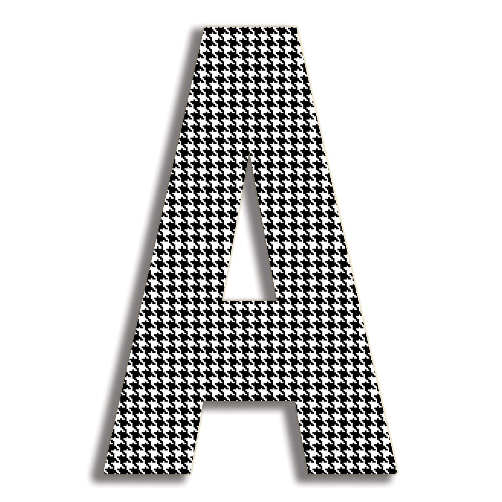 The Stupell Home Decor Collection Stupell Industries Oversized Black Hounds Tooth Hanging Initial