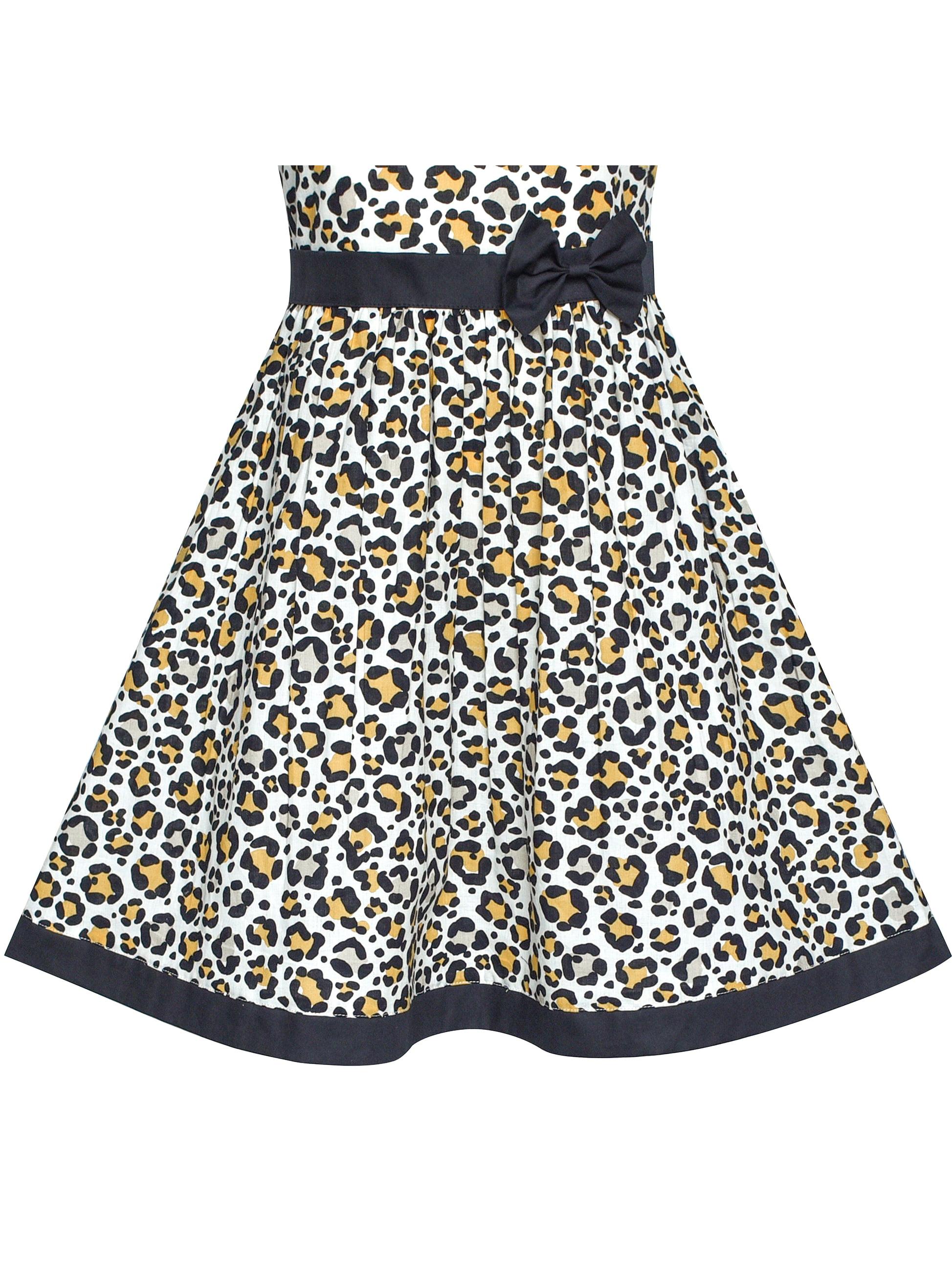 762f51cda Sunny Fashion - Girls Dress Brown Leopard Print Summer Beach ...