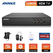 ANNKE 4-Channel HD-TVI 1080N Security Video DVR, H.264+ video Compression for Bandwidth Efficiency(Hard Drive Capacity is optional:0-NO HDD,1-1TB HDD)