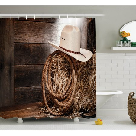 Western Decor Shower Curtain Set, American West Rodeo Hat With Traditional Ranching Robe On Wooden Ground Folk Art Photo, Bathroom Accessories, 69W X 70L Inches, By Ambesonne for $<!---->