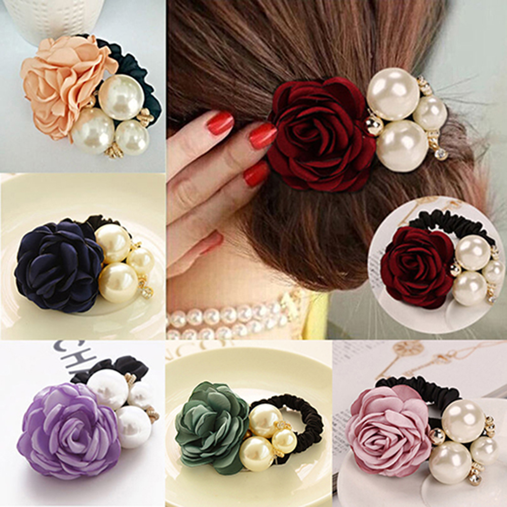 Girl12Queen Lady Girl Chic Sweet Rose Flower Faux Pearls Hairband Ponytail Holder Hair Band