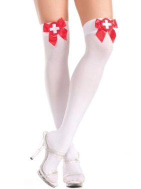 6e1b75dbf91 Product Image Sheer Nurse Thigh Highs Be Wicked BW410 White