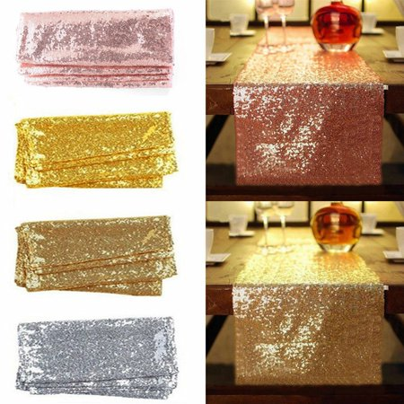 Sequin Table Runners, Glitter Rose Gold Silver Champagne Blue White Tablecloths Cover for Wedding Banquet Event Birthday Party Christmas Holiday Dining Room Kitchen Decoration, 30 x 183cm ()
