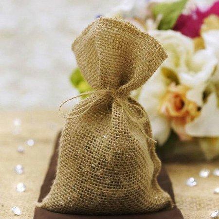 Burlap Wedding Favor Bags (Efavormart Natural Color Wedding Banquet Fine Rustic Burlap Favor Bags 4.5x7.75)