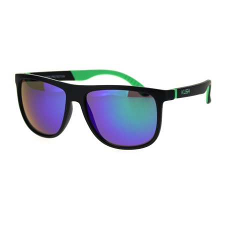 Kush Mirrored Mirror Lens Soft Tip Arm Matte Thin Plastic Aviator Sunglasses Green