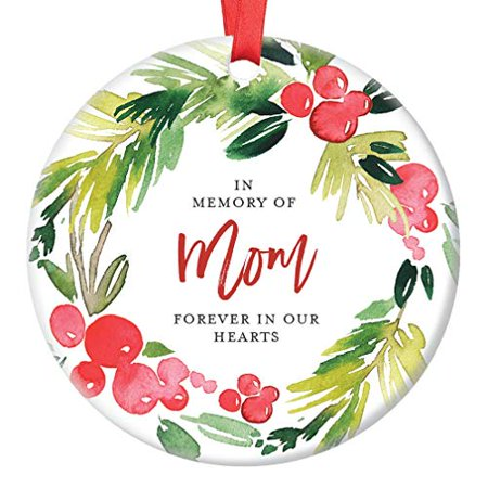 In Memory of Mom Ornament, Christmas Memorial for Mother, Forever In Our Hearts Son & Daughter, Remembrance Ceramic Present Idea 3