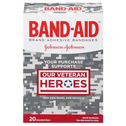 BAND-AID Adhesive Bandages, Our Veteran Heroes, Assorted 20 ea (Pack of 3)