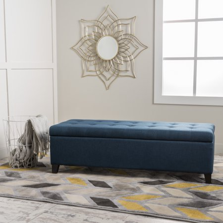 Noble House Madison Dark Blue Fabric Storage Ottoman
