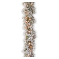 9' Snowy Bristle Pine Garland with Clear Lights
