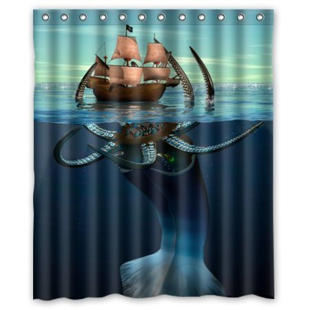 Ganma Cool Kraken Octopus PatternDeep Sea Monster Art Shower Curtain Polyester Fabric Bathroom 66x72 Inches
