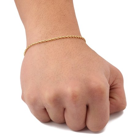 - 10K Yellow Gold Solid Diamond Cut Rope Chain Bracelet (2mm, 8.5