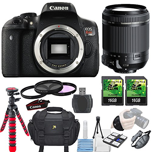 Canon EOS Rebel T6i 24.2MP Camera + Tamron 18-200mm Di II VC Lens + 3 piece Filter Kit+ 2 pc 16GB Memory Card... by Paging Zone