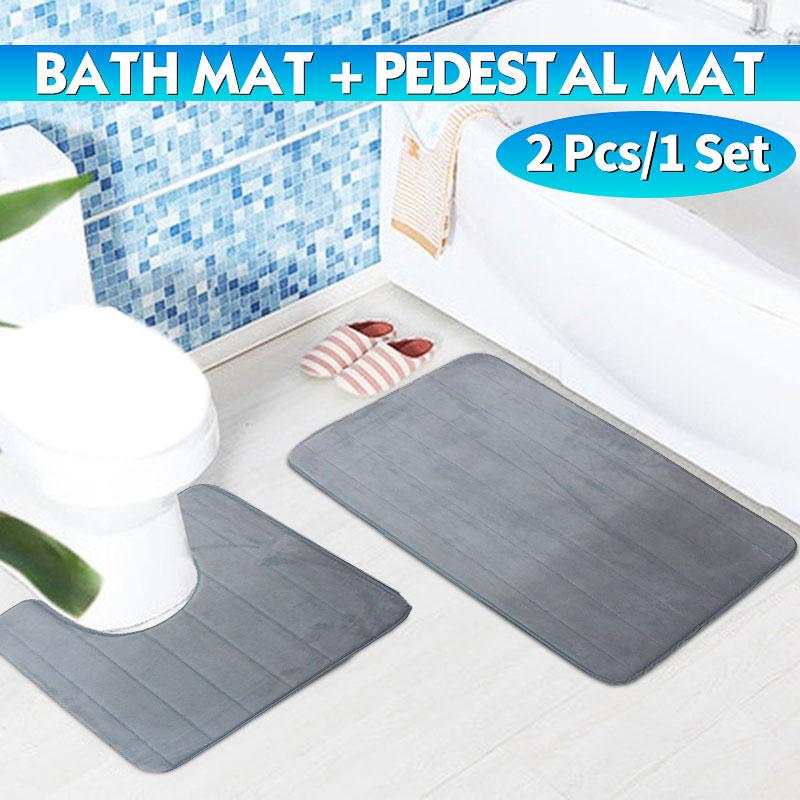 Bathroom Shower 2 Piece Bath Mat Set Non Slip /& Toilet Pedestal Soft Toilet Rug