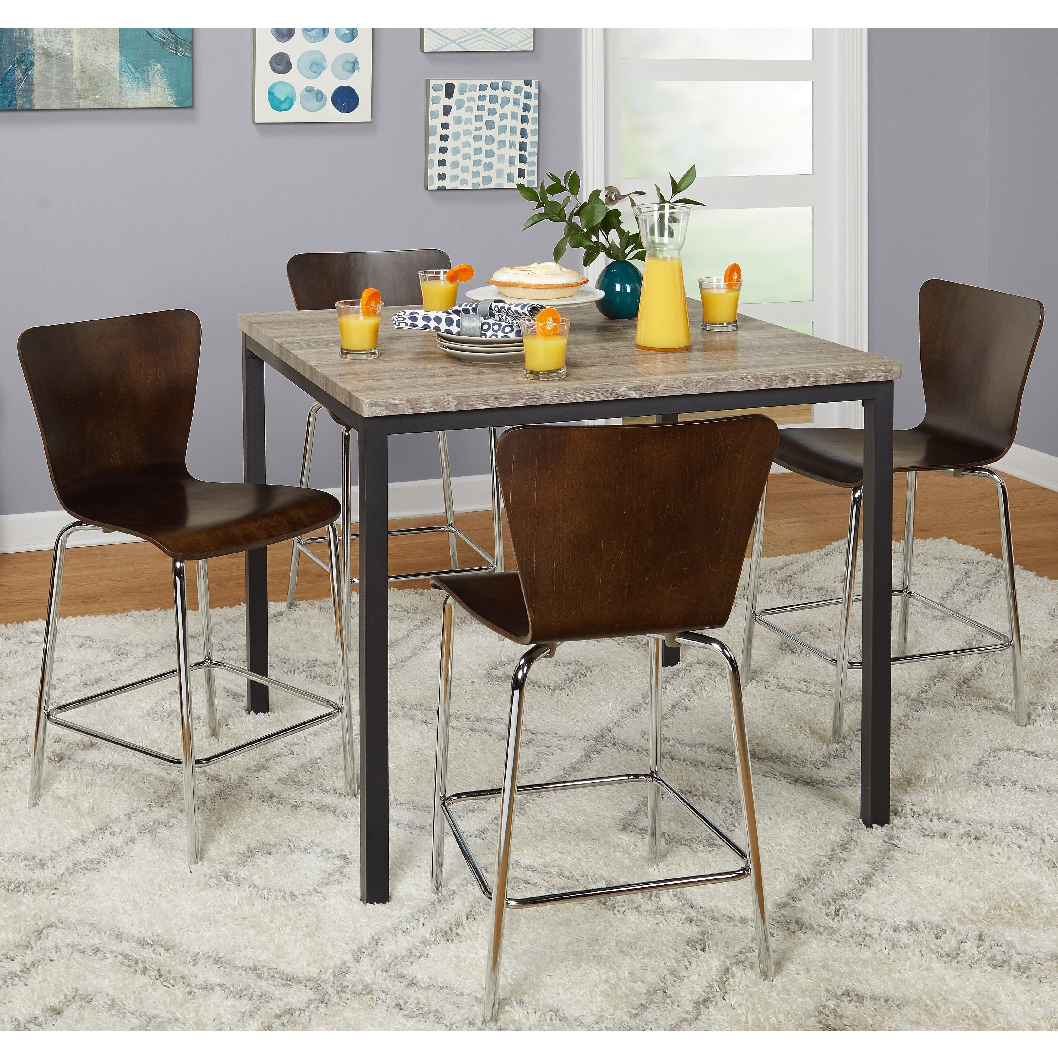 Target Marketing Systems Pavia 5 Piece Counter Height Dining Table Set