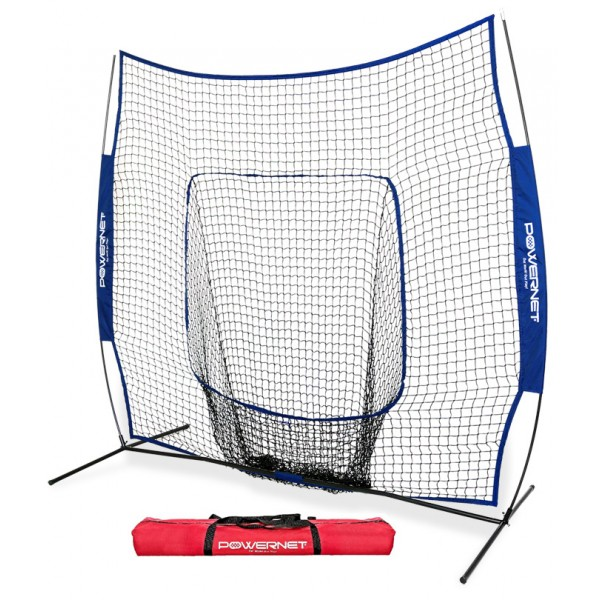 PowerNet Team Color ROYAL BLUE Baseball Softball 7x7 Hitting Net w/ bow frame (LIFETIME WARRANTY)