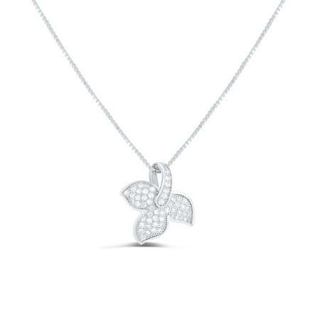 Sterling Silver Cz Ivy Leaf Charm Necklace (Ivy Charm)