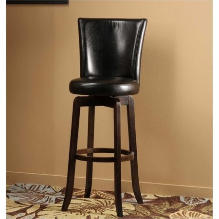 "Bowery Hill 25"" Faux Leather Swivel Counter Stool in Black - image 1 of 1"